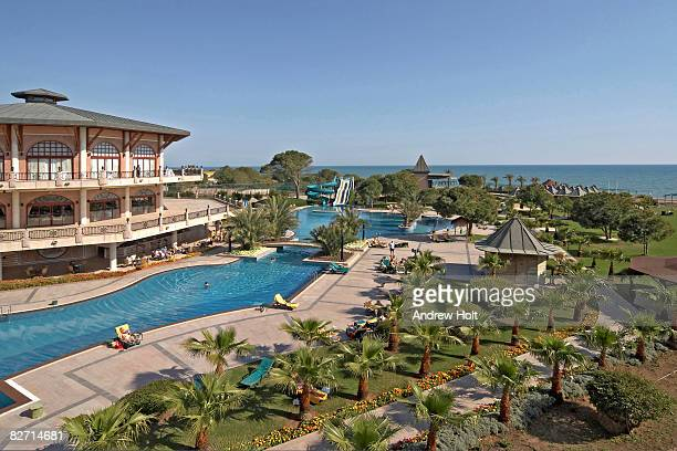 tourist holiday landscape with swimming pool - tourist resort stock pictures, royalty-free photos & images