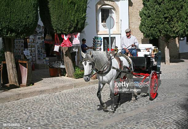Tourist horse and carriage ride around the old city of Ronda Spain