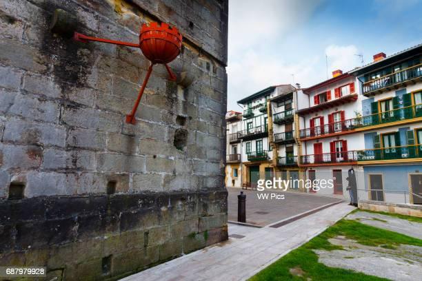 Tourist Hotel facade . Hondarribia. Guipuzkoa, Basque Country, Spain, Europe.