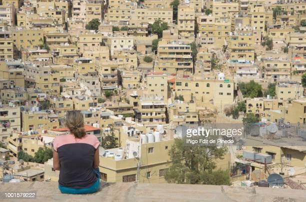 A tourist in Amman, Jordan.