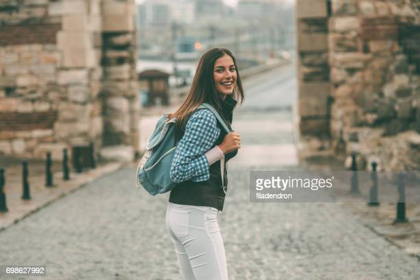 Tourist in an old town