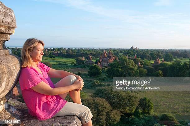 Tourist in Bagan Burma (Myanmar) on Temple.