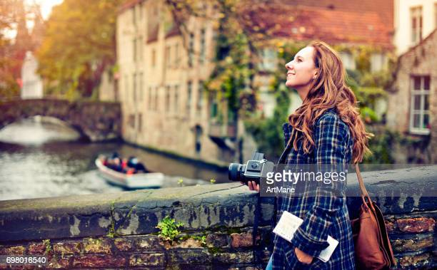 tourist in bruges - belgium stock pictures, royalty-free photos & images