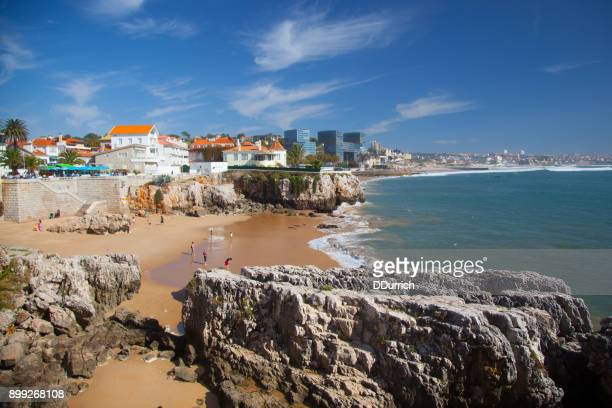 tourist in cascais beach - cascais stock photos and pictures