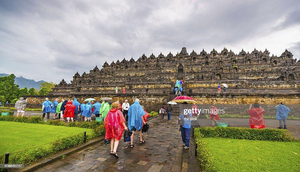 Tourist in Colorful Rain Ponchos, Borobudur Temple, Indonesia : Stock Photo