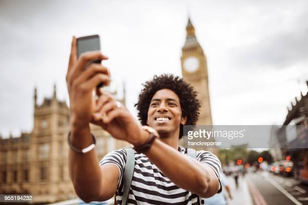 tourist in london take a selfie