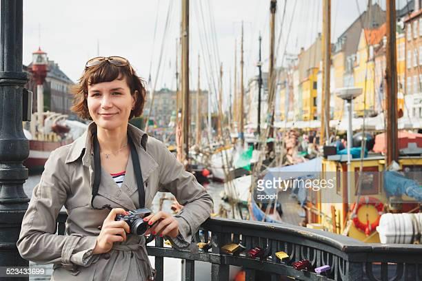 Tourist in Nyhavn, Copenhagen.