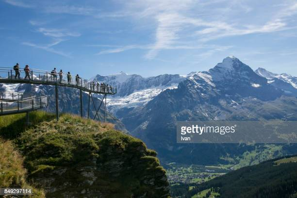 Tourist in the First Cliff Walk with Jungfraujoch mountain, Switzerland
