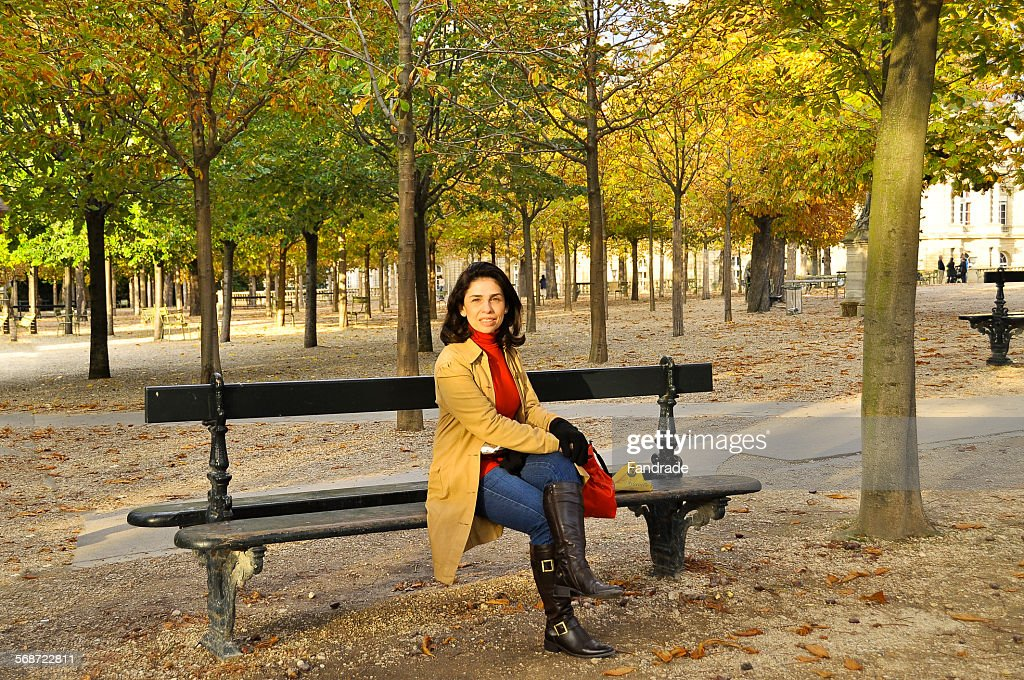 Tourist in the Luxembourg Garden Paris : Stock Photo