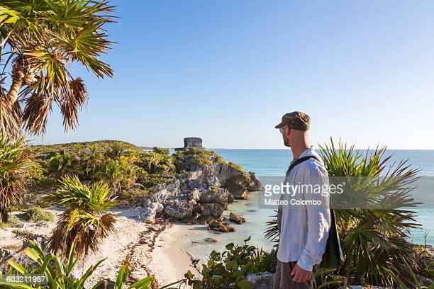 Tourist in the mayan ruins of Tulum, Mexico