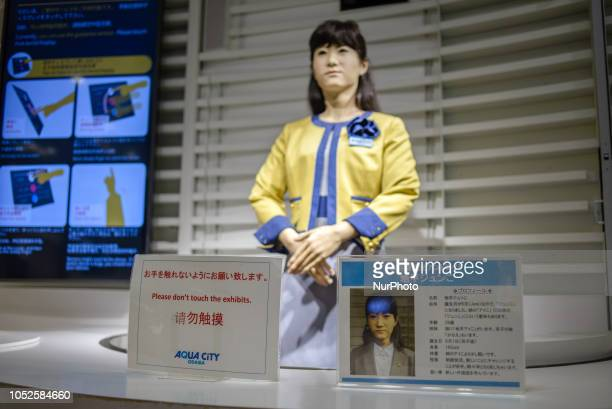 Tourist info desk operated by a robotic guide Chihira Junco in the Odaiba's Aqua City shopping complex Tokyo Japan in October 2018