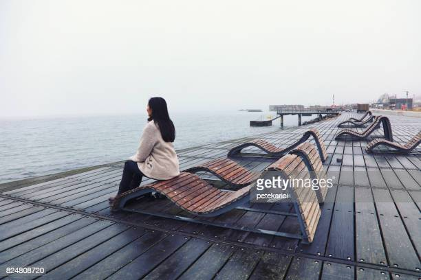 tourist is watching the landscape in helsingborg, sweden - helsingborg stock pictures, royalty-free photos & images