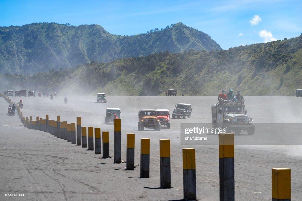 Tourist jeeps at  Bromo Tengger Semeru National Park, East Java, Indonesia : Stock Photo