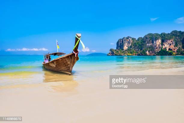 Tourist Long Tail Boat at Railay Bay, Krabi, Thailand