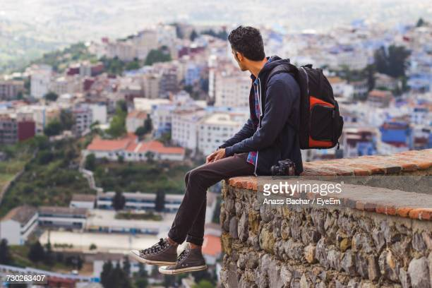 tourist looking at city view - casablanca stock pictures, royalty-free photos & images