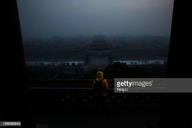 A tourist looks at the Forbidden City as pollution covers the city on January 16 2013 in Beijing China Heavy smog shrouded Beijing with pollution at...