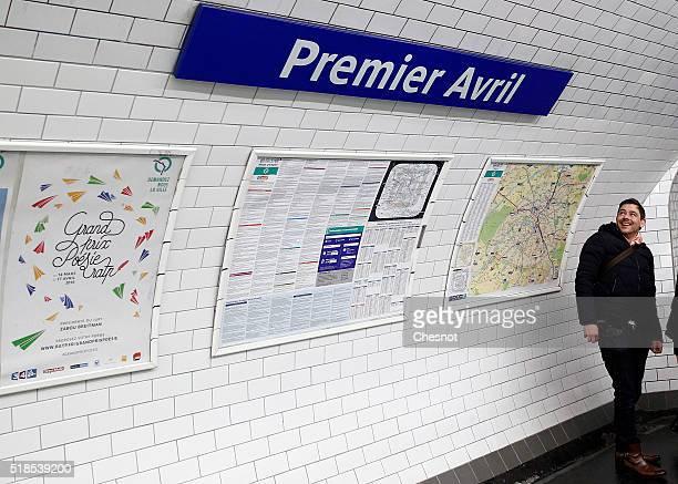A tourist looks at the metro station Quatre Septembre which became Premier Avril on April 1 2016 in Paris France For April Fool's Day Autonomous...