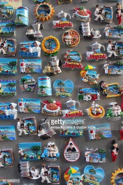 Tourist magnets for sale in Naples, Italy