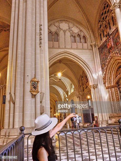 Tourist making a selfie in the Cathedral of Toledo
