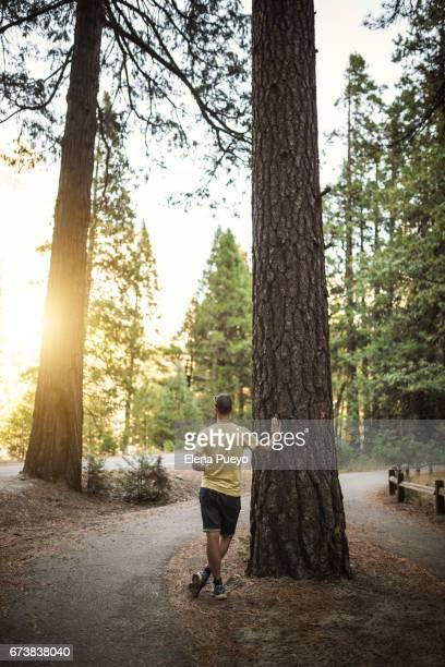 Tourist making a trail in Yosemite National Park, trekking trail