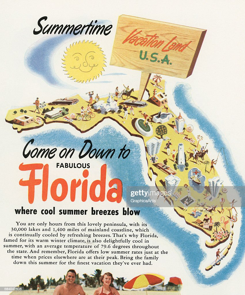 Tourist Map Of Florida 1956 Screen Print News Photo Getty Images
