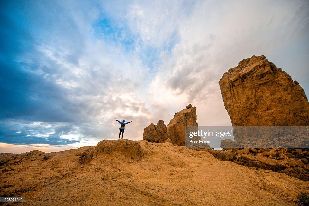 Tourist near the rock Nublo on Gran Canaria island : Stock Photo