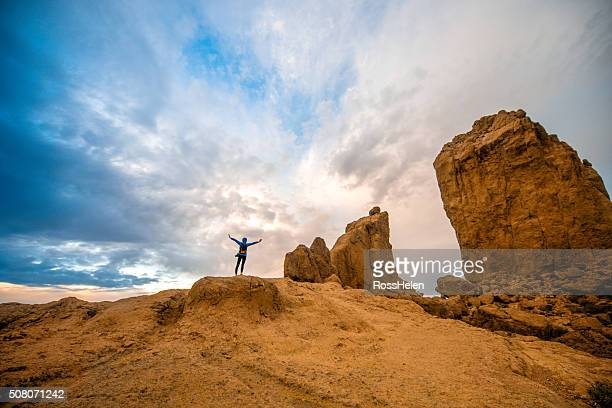 tourist near the rock nublo on gran canaria island - tejeda stock pictures, royalty-free photos & images