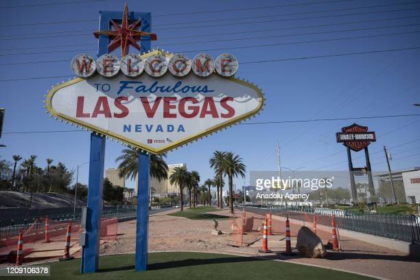 Tourist node of Las Vegas is seen empty due to ongoing spread of the coronavirus outbreak across the United States on April 03, 2020 in Las Vegas,...