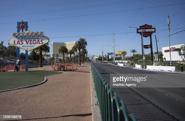 A tourist node of Las Vegas is seen empty due to ongoing spread of the coronavirus outbreak across the United States on April 03 2020 in Las Vegas...