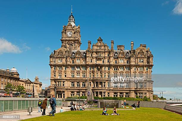 tourist office with waverley hotel - balmoral hotel stock photos and pictures