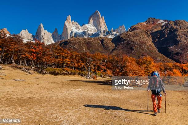 Tourist on a background of mountains. Patagonia, Argentina