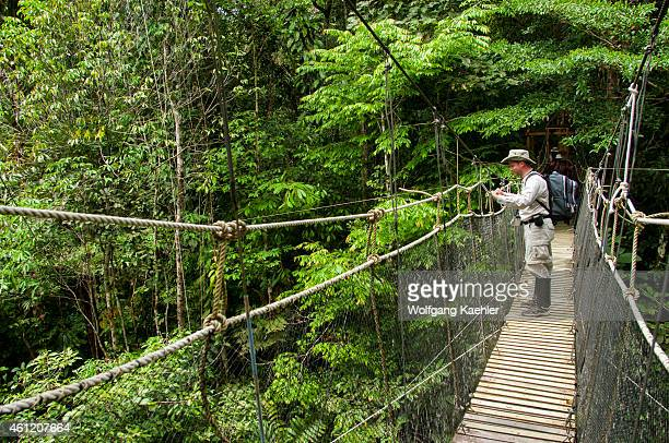 A tourist on a canopy walkway at La Posada Lodge at the Marañón River in the Peruvian Amazon River basin near Iquitos