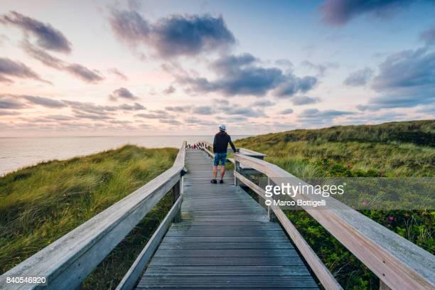 tourist on a walkway at sunset. sylt island. germany. - schleswig holstein stock-fotos und bilder