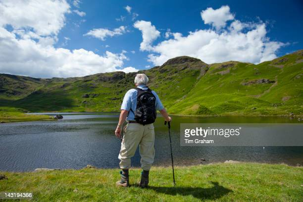Tourist on nature trail in lakeland countryside at Easedale Tarn lake in the Lake District National Park Cumbria UK