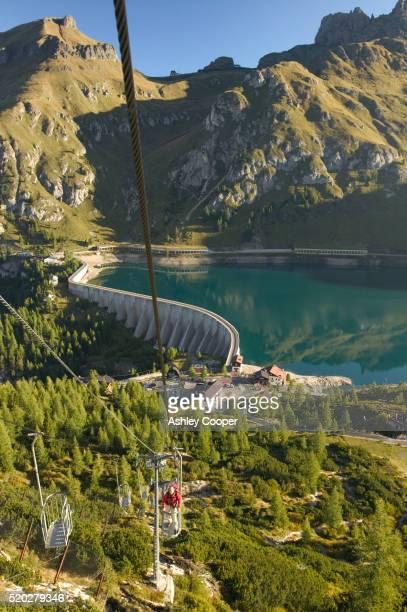 Tourist on Old Ski Lift in Italian Dolomites