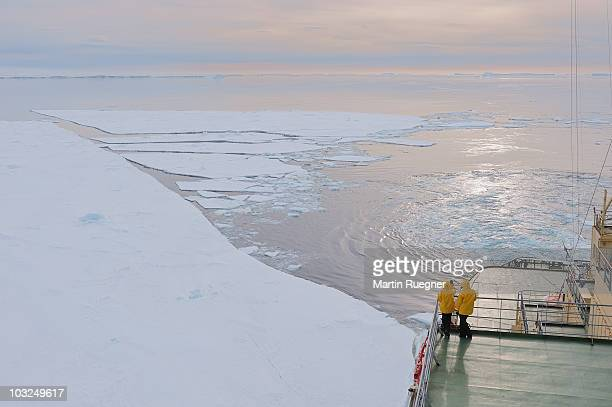 tourist on ship with antarctica landscape. - weddell sea stock photos and pictures
