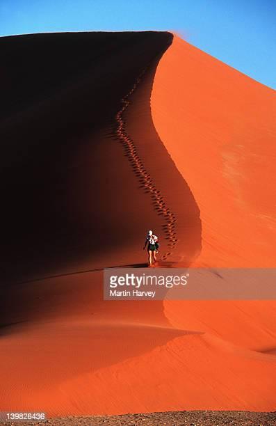 Tourist on the sand dunes, Namib Desert, Namibia.