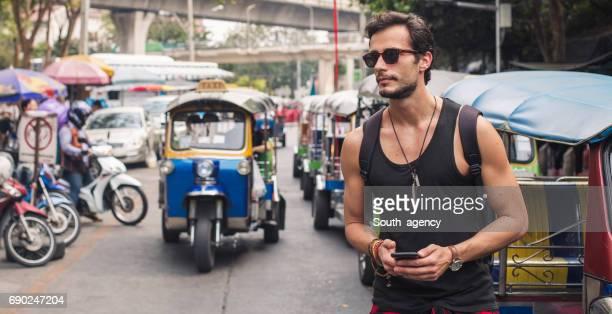 Tourist on the street downtown