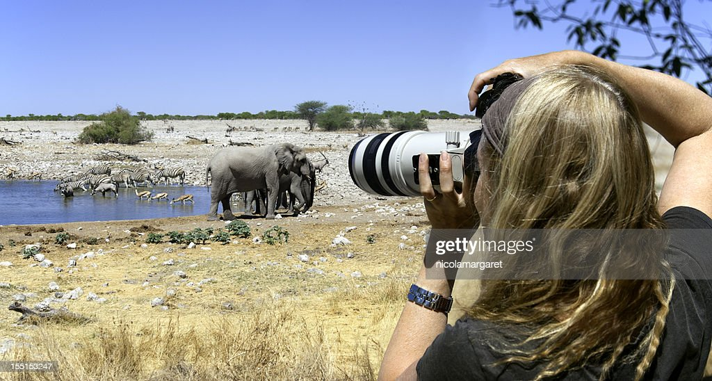 Tourist photographer on safari in Africa : Stock Photo