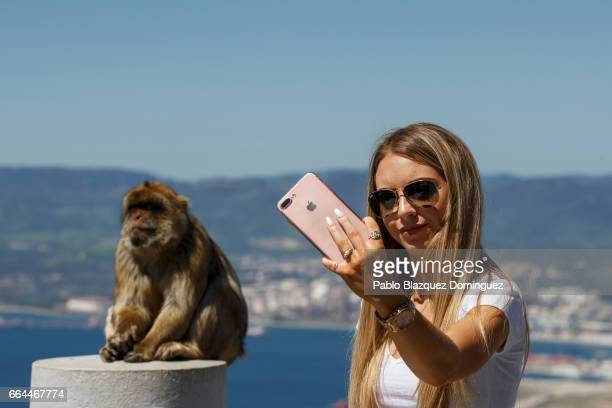 A tourist poses for a selfie in front of a monkey at the top of Gibraltar Rock on April 4 2017 in Gibraltar Gibraltar Tensions have risen over Brexit...