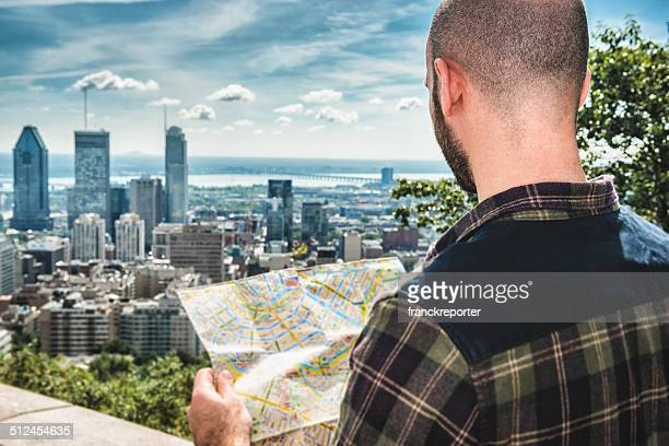 tourist reading a map in Montreal