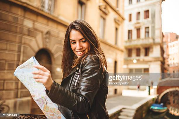 tourist reading a map in Venice