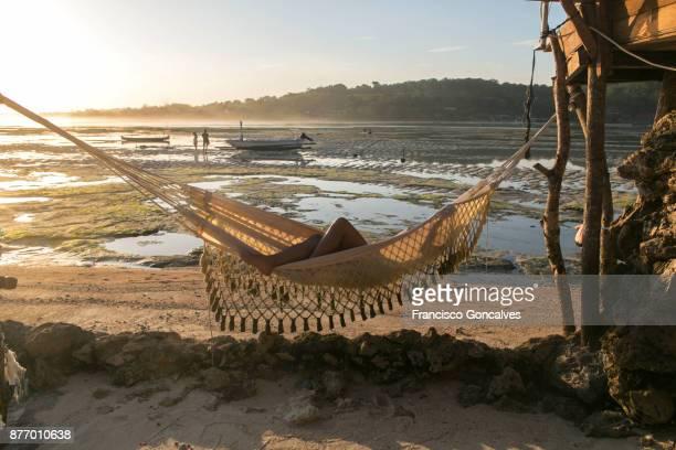 Tourist relaxing in Nusa Ceningan, Bali