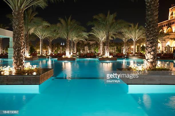 Tourist resort pool at night