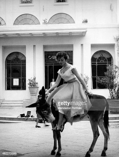 A tourist riding a donkey Capri 1950s
