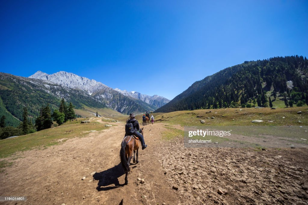 Tourist riding a pony ride over tranquility mountain scene over Sonamarq Valley, Kashmir, India. : Stock Photo