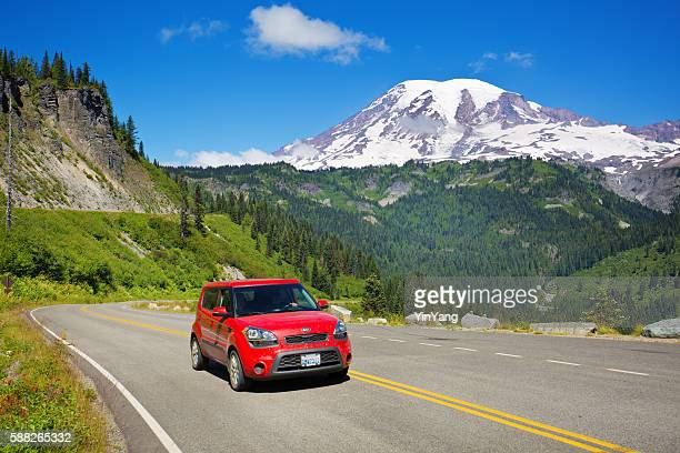 Tourist Road Trip at Mount Rainier National Park, Washington, USA