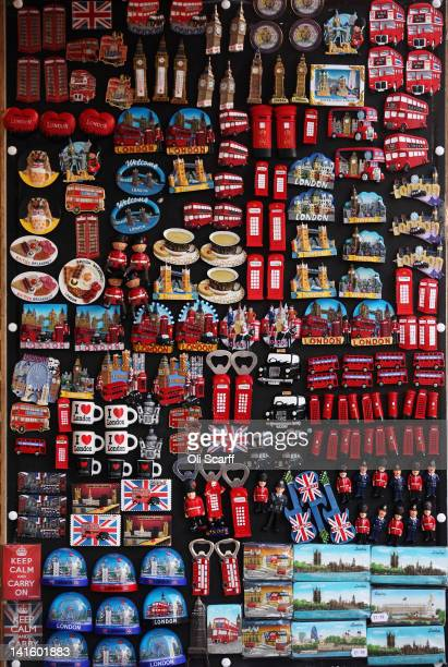 A tourist souvenir shops sells novelty magnets in the West End on March 19 2012 in London England London's West End is synonymous with theatre...