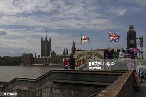 A tourist souvenir stall sits in view of the Houses of Parliament in London UK on Wednesday Aug 28 2019 UK Prime Minister Boris Johnson said he plans...