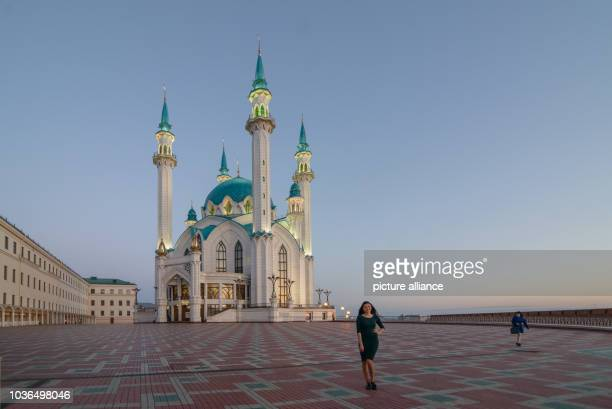 A tourist stands in front of the Qolsarif Mosque in Kazan Russia 20 April 2016 PhotoCANDYWELZ/dpa | usage worldwide